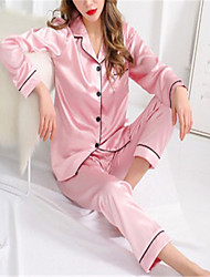 cheap -Women's Lace Suits Nightwear Solid Colored Wine Light gray White M L XL
