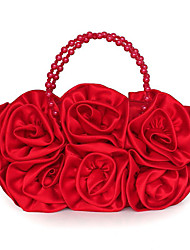 cheap -Women's Bags Silk Evening Bag Beading Flower Solid Color Wedding Bags Wedding Party Event / Party Red Fuchsia Champagne