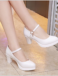 cheap -Women's Heels Chunky Heel Round Toe Leather Fall & Winter Black / White / Silver