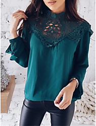 cheap -Women's Daily Basic Blouse - Solid Colored Black / White, Lace Black