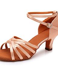 cheap -Women's Dance Shoes Silk Latin Shoes Sparkling Glitter Heel Thick Heel Black / Brown / Pink