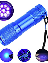 cheap -LED UV Flashlight Outdoor Lights 395nm 9 LEDsPortable Mini Small Torch Detection Light Violet Torch Black Light 1 pc