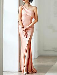 cheap -Sheath / Column Elegant Formal Evening Dress One Shoulder Sleeveless Floor Length Satin with Split Front 2020
