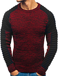 cheap -Men's Color Block Long Sleeve Pullover Sweater Jumper, Round Fall / Winter Red / Dark Gray M / L / XL