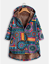 cheap -Women's Daily Fall & Winter Long Coat, Geometric Hooded Long Sleeve Polyester Blue / Red