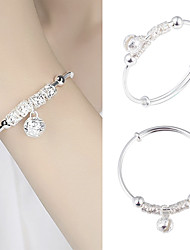 cheap -Fashion Silver 925 pure silver charm Artificial Stone Bracelet Cuff Bracelet ball bell pendant women jewelry gift adjustable size 16-20cm