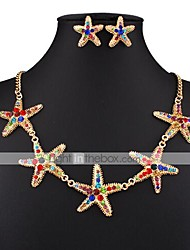 cheap -Women's Stud Earrings Choker Necklace 3D Star Precious Unique Design Vintage Fashion Gold Plated Earrings Jewelry Rainbow For Wedding Party Holiday 1 set