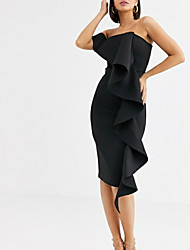 cheap -Sheath / Column Off Shoulder Knee Length Satin Little Black Dress Cocktail Party / Formal Evening Dress with Split Front / Ruffles 2020