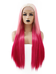 cheap -Synthetic Lace Front Wig Straight Taylor Middle Part Lace Front Wig Pink Long Pink+Red Synthetic Hair 22-26 inch Women's Cosplay Heat Resistant Hot Sale Red Pink / Ombre Hair