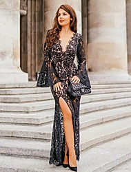 cheap -Women's Maxi Black Dress Sheath Solid Colored Deep V Lace Split S M