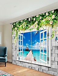 cheap -Seaside Digital Printing 3D Curtain Shading Curtain High Precision Black Silk Fabric High Quality Curtain
