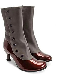 cheap -Women's Boots Comfort Shoes Stiletto Heel Round Toe PU Mid-Calf Boots Fall & Winter Black / Brown / Purple