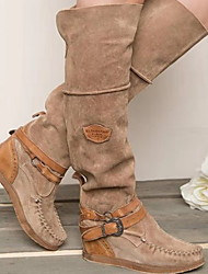 cheap -Women's Boots Cowboy / Western Boots Wedge Heel Round Toe PU Mid-Calf Boots Fall & Winter Brown / Blue / Gray