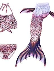 cheap -Kids Girls' Swimwear Bikini 3pcs Swimsuit Mermaid Tail The Little Mermaid Swimwear Geometric Sleeveless Purple Active Cosplay Costumes Bathing Suits