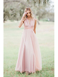 cheap -A-Line V Neck Floor Length Chiffon Bridesmaid Dress with Pleats