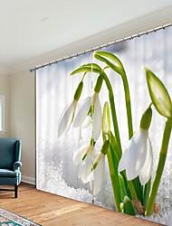cheap -White Orchid Digital Printing 3D Curtain Shading Curtain High Precision Black Silk Fabric High Quality Curtain