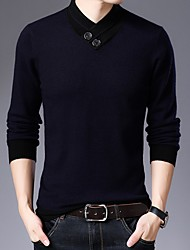 cheap -Men's Solid Colored Long Sleeve Pullover Sweater Jumper, Round Neck Black / Wine / Camel L / XL / XXL