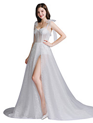 cheap -Jumpsuits Sweetheart Neckline Sweep / Brush Train Tulle Spaghetti Strap Mordern Illusion Detail Made-To-Measure Wedding Dresses with Appliques / Split Front 2020