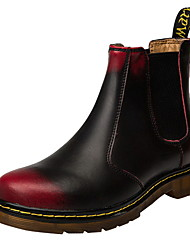 cheap -Men's Comfort Shoes Leather Fall & Winter Boots Booties / Ankle Boots Black / Black / Red / Red
