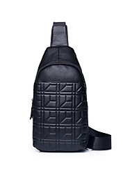cheap -Men's Embossed Cowhide Sling Shoulder Bag Solid Color Black / Brown