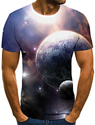 cheap -Men's Daily Sports Basic / Exaggerated T-shirt - Color Block / 3D Black & White, Print Navy Blue