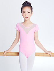 cheap -Ballet Leotards Girls' Training / Performance Poly-Cotton / Mesh Split Joint Short Sleeve Natural Leotard / Onesie