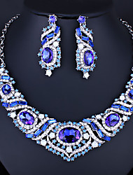 cheap -Women's Clear Blue White AAA Cubic Zirconia Collar Necklace Chandelier Heart Luxury Fashion Elegant Earrings Jewelry White / Blue For Wedding Engagement Holiday 1 set