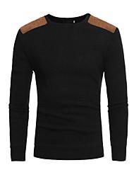 cheap -Men's Color Block Long Sleeve Pullover Sweater Jumper, Round Neck Black / Dark Gray / Navy Blue US36 / UK36 / EU44 / US38 / UK38 / EU46