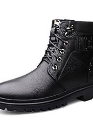 cheap -Men's Combat Boots Nappa Leather Fall & Winter British Boots Warm Mid-Calf Boots Black / Brown