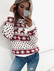 cheap -Women's Christmas Animal Long Sleeve Pullover Sweater Jumper, Round Black / Red S / M / L