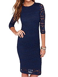 cheap -Women's Daily Wear Basic Sheath Dress - Solid Colored Black Royal Blue S M L XL