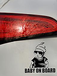 cheap -2pcs 15.5*15.2CM BABY ON BOARD Creative Fashion Car Sticker Tail Warning Sign Decal