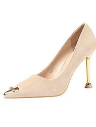 cheap -Women's Heels Stiletto Heel Pointed Toe Rhinestone / Buckle Rabbit Fur Minimalism Spring & Summer Black / Camel / Almond / Party & Evening