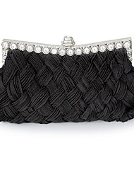 cheap -Women's Crystals / Hollow-out Silk / Straw Evening Bag Solid Color Black / White / Purple