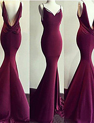 cheap -Mermaid / Trumpet Spaghetti Strap Sweep / Brush Train Spandex Elegant / Open Back Formal Evening Dress with 2020