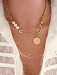 cheap -Women's Pendant Necklace Necklace Classic Lucky Classic Vintage Trendy Fashion Aluminum Imitation Pearl Gold 47 cm Necklace Jewelry 1pc For Gift Daily Holiday Club Festival