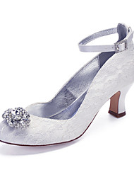 cheap -Women's Wedding Shoes Cuban Heel Round Toe Vintage Classic Wedding Party & Evening Lace Rhinestone Crystal Solid Colored White Ivory