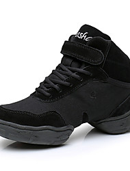 cheap -Women's Dance Shoes Canvas / Faux Leather Dance Sneakers Splicing Sneaker Thick Heel Black