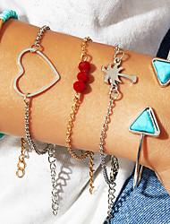 cheap -5pcs Women's Bracelet Bangles Cuff Bracelet Bead Bracelet Layered Heart Vertical / Gold bar Coconut Tree Classic Vintage Trendy Fashion Boho Stone Bracelet Jewelry Silver For Daily School Street