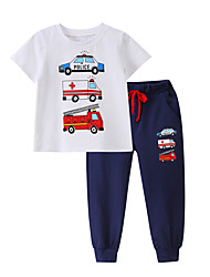 cheap -Baby Boys' Casual / Active Print Print Short Sleeve Long Clothing Set Black