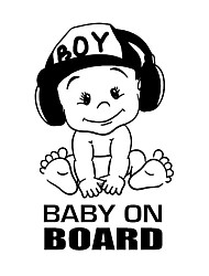 cheap -2pcs Baby on boardl Car sticker Viny Decal Sticker For Car Window Funny Cute Cool Boy Design Waterproof Decals