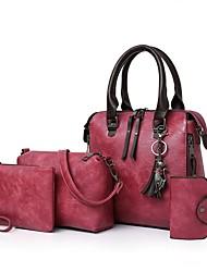 cheap -Women's Zipper PU Bag Set 4 Pieces Purse Set Black / Brown / Red Brown