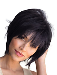 cheap -Human Hair Capless Wigs Human Hair Straight  Natural Straight Bob  Pixie Cut  Layered Haircut Asymmetrical Style Cool  Fashion  Comfortable Black Blonde Short Capless Wig Women's  All