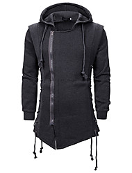 cheap -Men's Hoodie Solid Colored Hooded Basic Black Dark Gray US32 / UK32 / EU40 US36 / UK36 / EU44 US40 / UK40 / EU48 US42 / UK42 / EU50