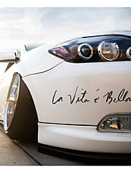 cheap -22cm Car Stickers Decals La Vita e Bella Reflective Letters Vinyls Decals Fashion Creative Car Full Body Head Styling Stickers