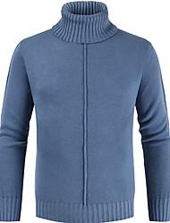 cheap -Men's Solid Colored Long Sleeve Pullover Sweater Jumper, Turtleneck Black / Light Blue / White XXXL