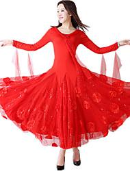 cheap -Ballroom Dance Dresses Women's Performance / Theme Party Terylene / Milk Fiber Lace-trimmed Bottom / Embroidery / Appliques Long Sleeve Natural Dress