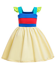 cheap -Kids Toddler Girls' Active Cute Color Block Cartoon Backless Patchwork Short Sleeve Knee-length Dress Yellow