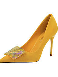 cheap -Women's Wedding Shoes Stiletto Heel Pointed Toe PU Minimalism Spring & Summer Black / Yellow / Green / Party & Evening
