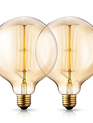 cheap -Vintage Incandescent Edison Light Bulbs 40 Watt 2200K Warm White Lightbulbs - E26/E27 Base - Globe Clear Glass - 210 Lumens Antique Filament G125 Light Bulb Set - 2 Pack